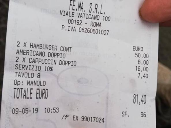 Fatura që po bën xhiron e rrjetit, 1 hamburger dhe 1 kapuçino 81 euro (FOTO)